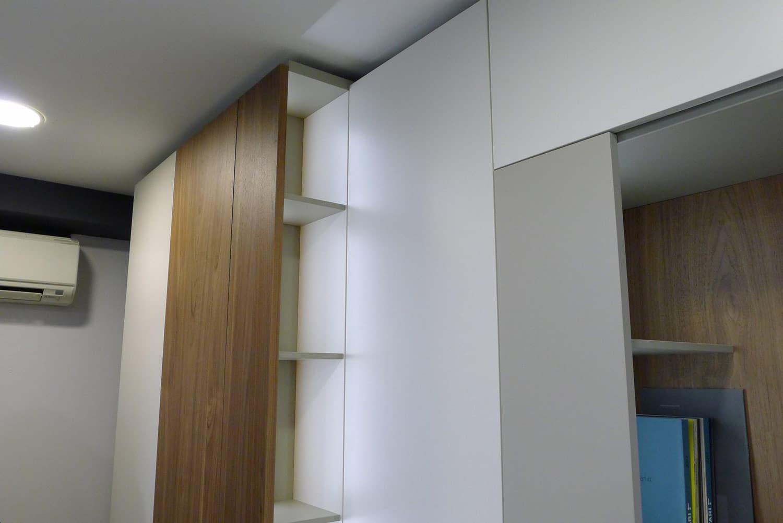 Baldas del sistema Roomy de Caccaro instalado en exposición Kitchen in.