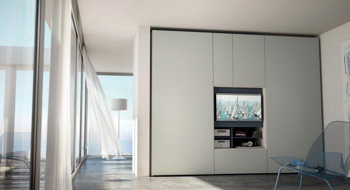 Vista de un armario de la serie FLAT de Caccaro