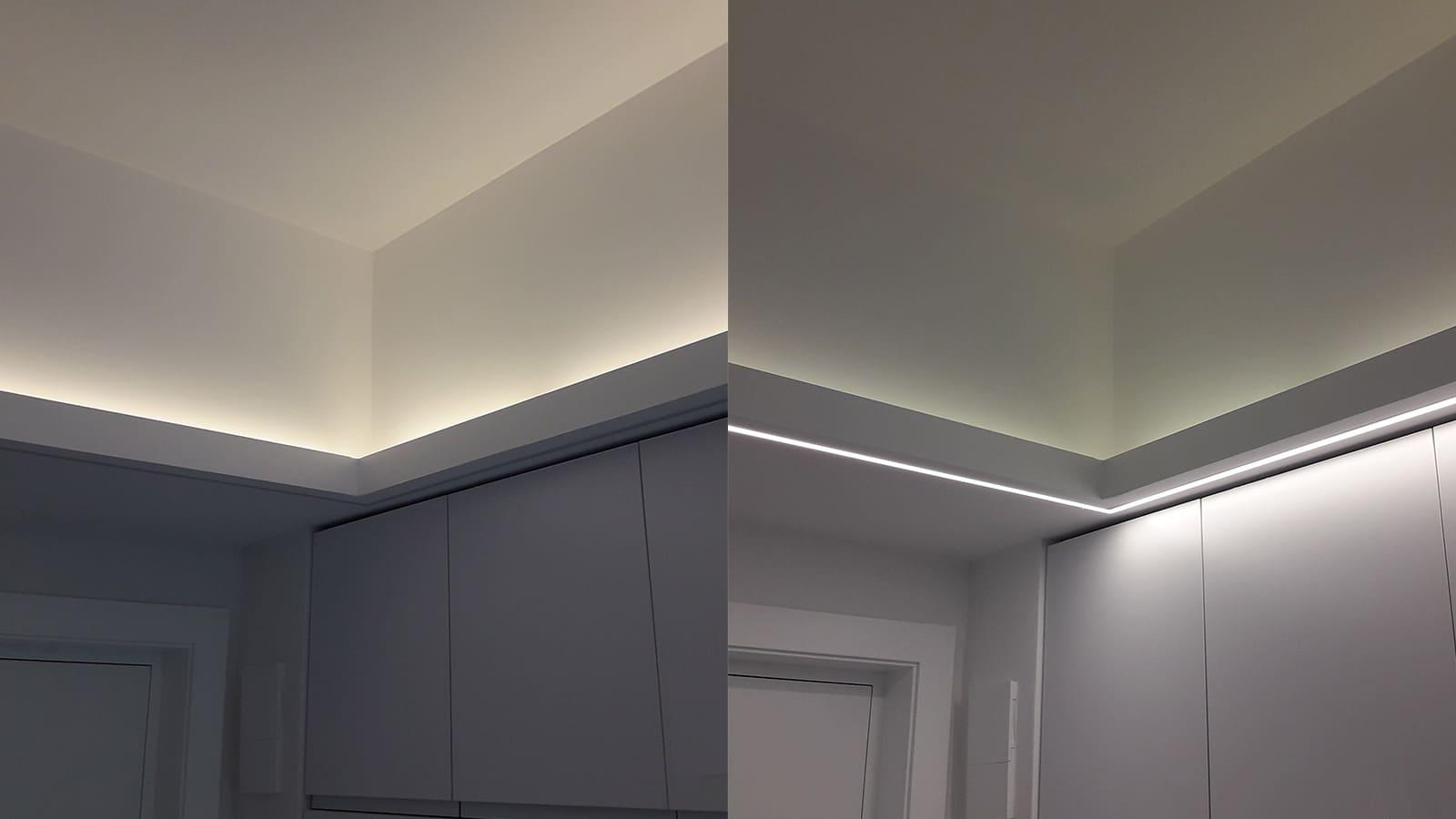 Cornisa de cocina con iluminación por parte inferior y superior