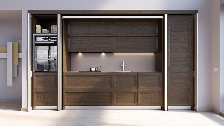 Muebles columna de cocina con apertura escamoteable abierta