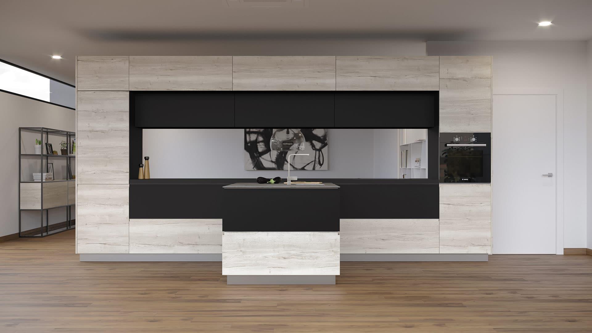 Ambiente de cocina con modelo Fussion en Laminado Syncro Olmo blanco y Laminado Matt + Grafito