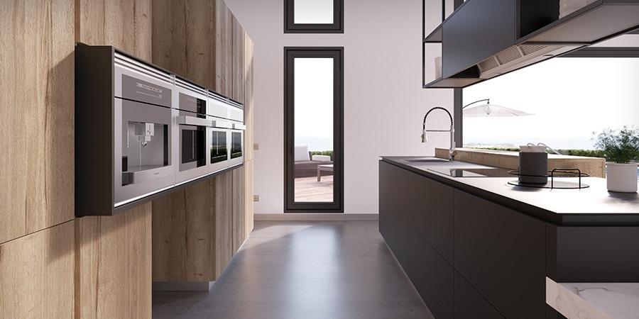Pasillo de cocina en madera y gris antracita con sistema logica